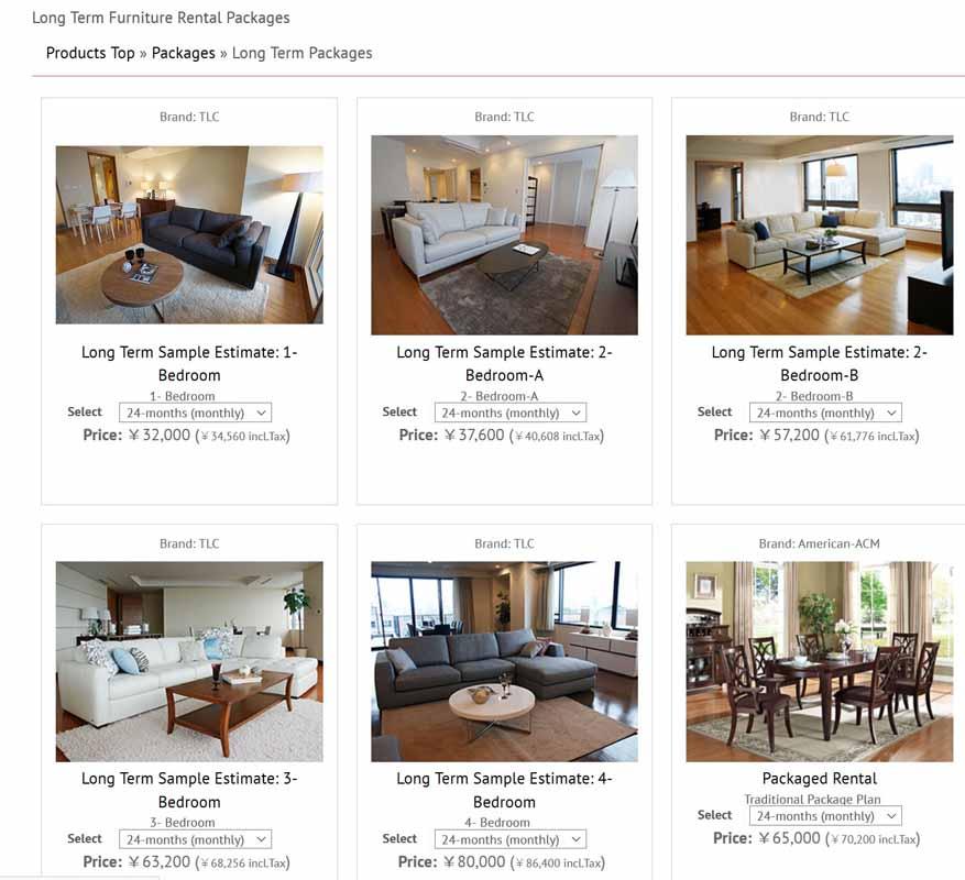 for Furniture rental tokyo